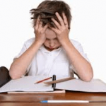 child stressed at desk